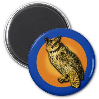 Large Owl with Orange Moon Tshirts, Mugs 2 Inch Round Magnet