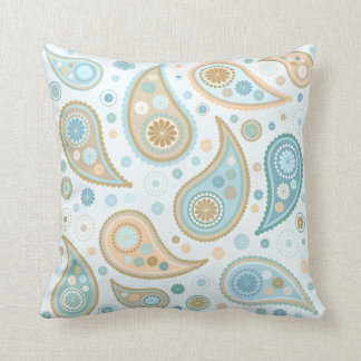 Large Paisley Funky Print (Light Blue Background) Throw Pillow