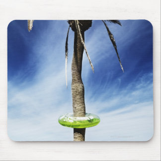 Large palm tree on a sandy beach with inflatable mouse pad