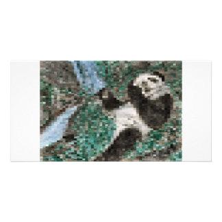 Large Panda Pla y Blurred Mosaic Customized Photo Card