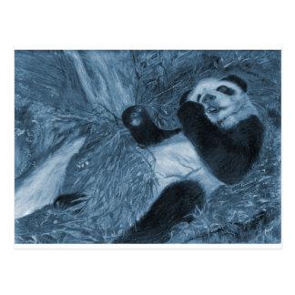 Large Panda Play Blue Hue Postcard