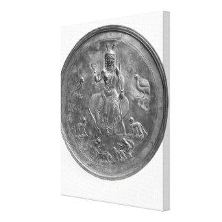 Large patera depicting a goddess canvas print