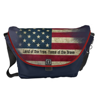 Large Patriotic US Flag. Land of the Free Courier Bag