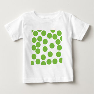 Large Pea Green Dots on White. Baby T-Shirt