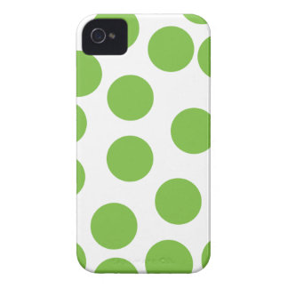 Large Pea Green Dots on White. iPhone 4 Case-Mate Cases