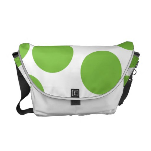 Large Pea Green Dots on White. Courier Bags