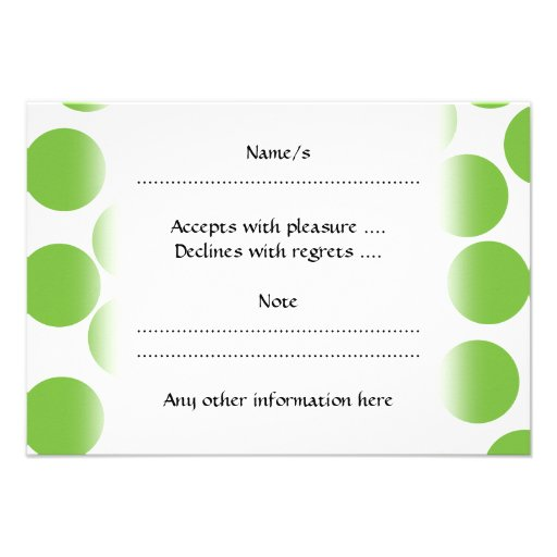 Large Pea Green Dots on White. Custom Invitations