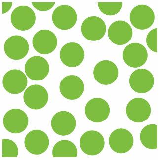 Large Pea Green Dots on White. Cutout