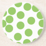 Large Pea Green Dots on White. Drink Coaster