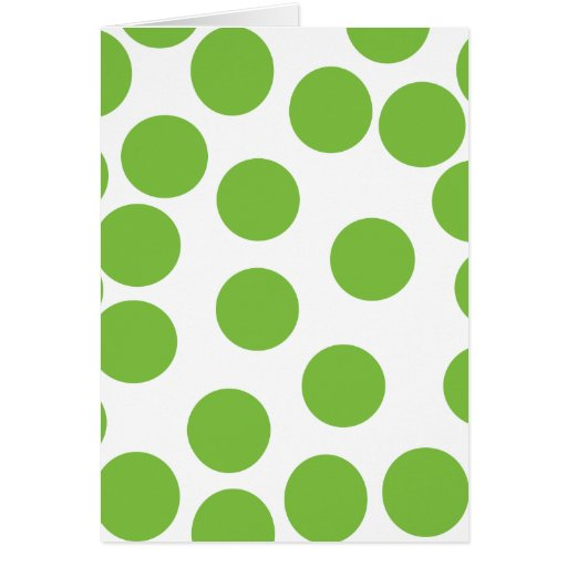 Large Pea Green Dots on White. Greeting Card