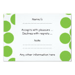 Large Pea Green Dots on White. 3.5x5 Paper Invitation Card