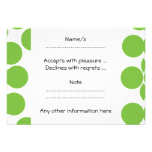 Large Pea Green Dots on White. Invites