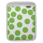 Large Pea Green Dots on White. iPad Sleeves