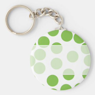 Large Pea Green Dots on White. Keychain