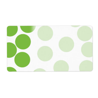 Large Pea Green Dots on White. Label
