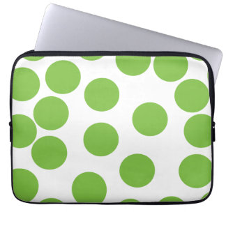 Large Pea Green Dots on White. Laptop Sleeve