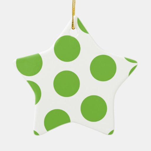 Large Pea Green Dots on White. Double-Sided Star Ceramic Christmas Ornament