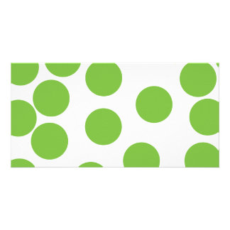 Large Pea Green Dots on White. Photo Card
