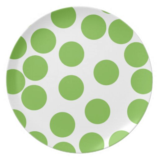 Large Pea Green Dots on White. Plate