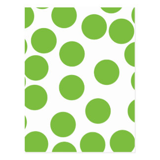 Large Pea Green Dots on White. Postcard