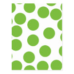 Large Pea Green Dots on White. Postcards