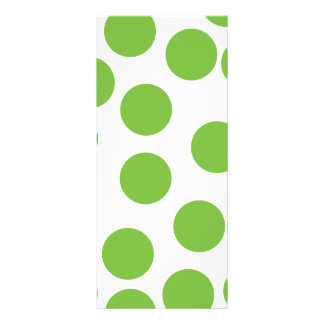 Large Pea Green Dots on White. Rack Cards