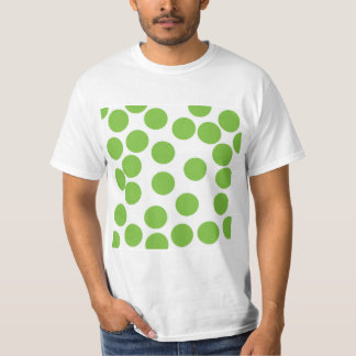 Large Pea Green Dots on White. T-Shirt