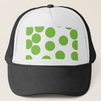 Large Pea Green Dots on White. Trucker Hat