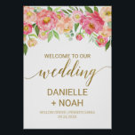 "Large Peach and Pink Peony Flowers Wedding Welcome Poster<br><div class=""desc"">This large peach and pink peony flowers wedding welcome poster is perfect for an elegant wedding. The floral design features a beautiful arrangement of watercolor peonies in shades of blush and coral matched with dainty faux gold foil calligraphy. Customize the poster with the name of the bride and groom, and...</div>"