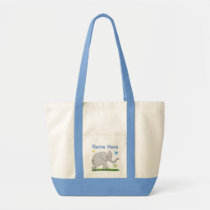 Large Personalized Canvas Tote with Baby Elephant