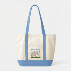 Large Personalized Canvas Tote With Baby Elephant at Zazzle