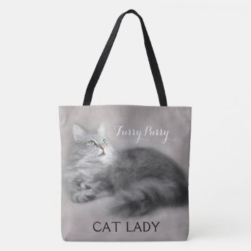 Halloween Themed Large Personalized Crazy Cat Lady Tote Bag