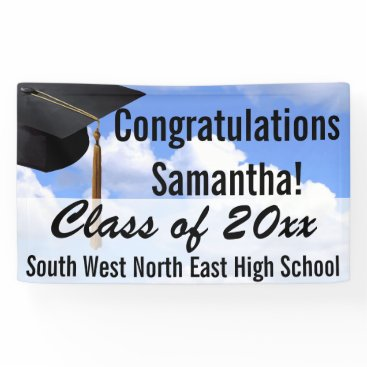 Beach Themed Large Personalized Graduation Banner Sign Blue Sky