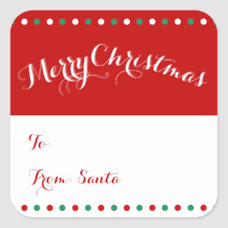 Large Personalized Red White Christmas Gift Tags Square Sticker
