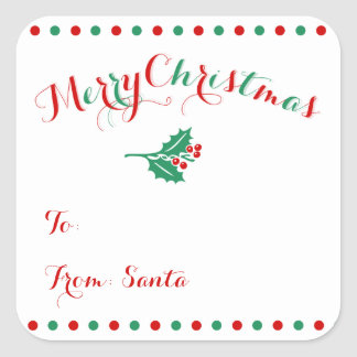 Large Personalized Square Christmas Gift Tags Square Sticker