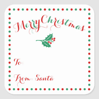 Large Personalized White Christmas Gift Tags Square Sticker