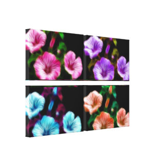 Large Petunias Quadtych Art Wrapped Canvas