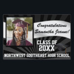 "Large Photo Graduation Banner Yard Sign<br><div class=""desc"">Customize to any color (after entering your details and photo, click &quot;customize it&quot;, then &quot;edit&quot;, then&quot;background&quot;, be sure to do front and back). Add your son or daughter&#39;s senior class photo or graduation picture to this small, medium or large banner size custom personalized graduation yard sign. Black background with rays...</div>"