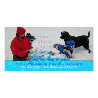 Large Photo Holder Horizontal Blue Christmas Card