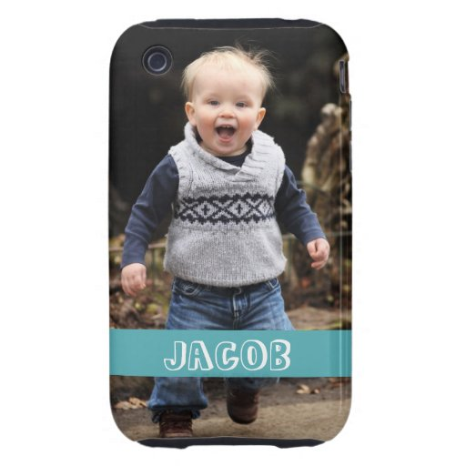 Large photo personalize your own blue band iPhone 3 tough case