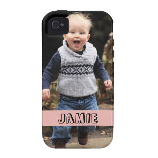 Large photo personalize your own pink band iPhone 4/4S case