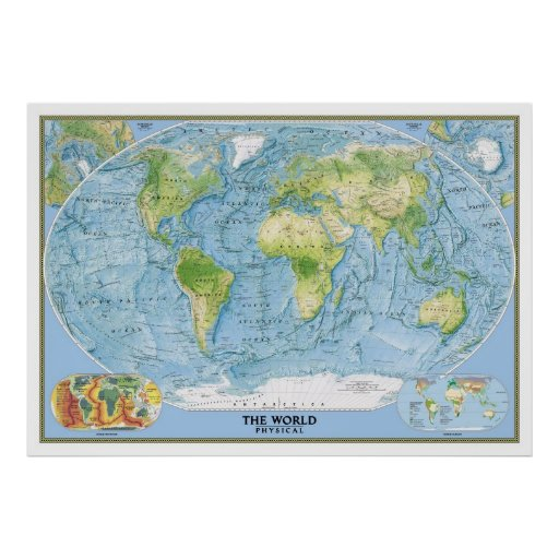 Large Physical map of world poster Zazzle