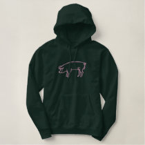 Large Pig Outline Embroidered Hoodie