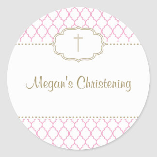 Large Pink and Gold Christening Baptism Sticker
