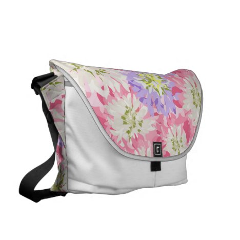 Large pink and mauve flowers messenger bag