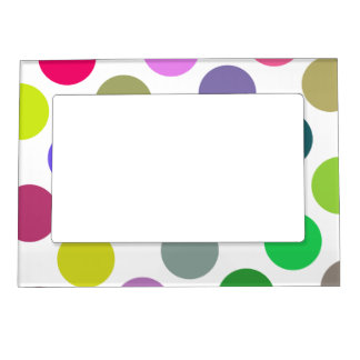 Large Pink And Purple Dots Magnetic Picture Frame