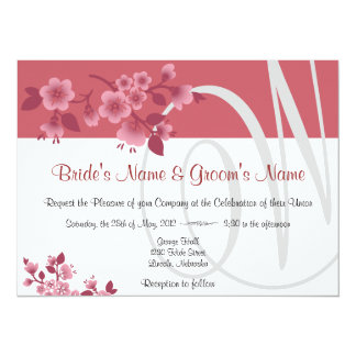 Large Pink Cherry Blossoms - Spring Wedding Invite