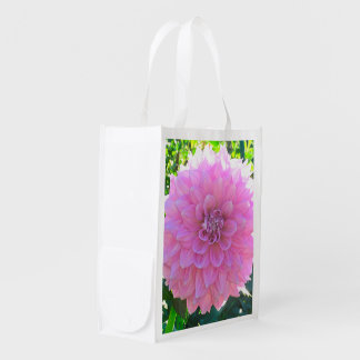 LARGE PINK DAHLIA RE-USABLE TOTE BAG REUSABLE GROCERY BAGS