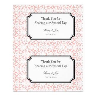 Large pink damask diy wedding gift bag hang tag flyer
