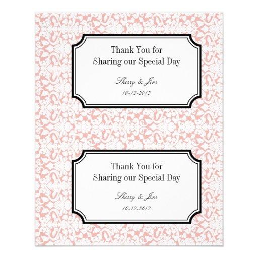 Wedding Gift Bag Tags : Large pink damask diy wedding gift bag hang tag flyers Zazzle